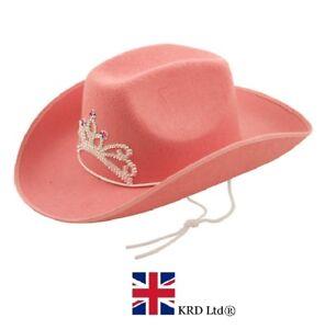PINK COWBOY HAT Ladies Hen Night Tiara Fancy Dress Wild West Rodeo Accessory UK