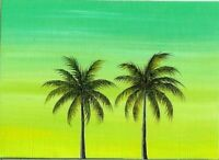 ACEO Original Acrylic Orlando Florida Palm Trees Sunset ATC Painting Art HYMES