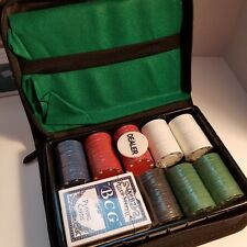 Portable Poker Chip Set 160 Chips Card Deck Felt Pad Dealer Button New In Box