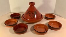 Moroccan Terracotta Pottery Tagine Covered Baker & Six Cazuela Serving Dishes