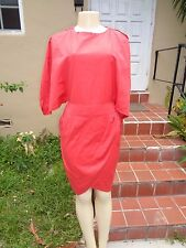 FENDI RED COTTON BLEND OPEN SLEEVE STRETCH FITTED DRESS Sz 40 MADE IN ITALY