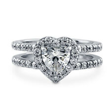 1.76 Ct Heart Cut Diamond Engagement Ring 14K Solid White Gold Rings Size N O P