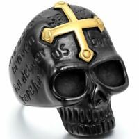 Men's Punk Biker Black Stainless Steel Skull Gold Tone Cross Ring Band Size 8-15