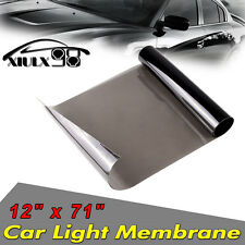 "12""x72"" Glossy Light Black Headlight Vinyl Tint Fog Light Taillight Smoke  Wrap"