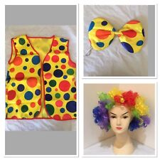 Adult CLOWN SET WIG VEST & BOW TIE Kit Costume Fancy Circus Jester New