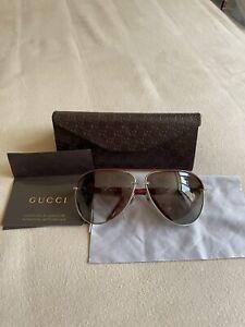 Gucci Women's GG 4225/S Burgundy Made in Italy Aviator Sunglasses