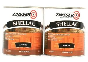 2 Cans Zinsser 32 Oz Shellac 331308 Amber Traditional Finish & Sealer Easy Apply