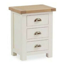 Daymer Painted Bedside Table / Off White Side Table with Drawers / Oiled Oak Top
