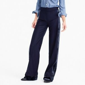 NEW J.Crew Collection wide-leg pant with velvet side stripe navy blue SZ 4