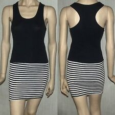 STRETCH COTTON RACER BACK MINI DRESS BLACK AND WHITE STRIPE UK SIZE 8-10