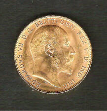 1908-P__Edward VII 22K GOLD Sovereign Coin___UNC
