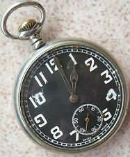 Paul Garnier Military Type Pocket watch nickel chromiun case Enamel Dial 50,5 mm