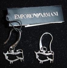 ARMANI SILVER DIAMOND CUT ZODIAC TAURUS EARRINGS