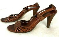 Cole Haan Womens Sandal Heels Open Toe Leather Weave Boho Strappy Brown Size 8.5