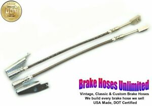 FRONT STAINLESS BRAKE HOSES Ford Galaxie 500, 1969 1970 1971 1972, Front Disc