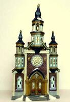 Church Cathedral Victorian Christmas Porcelain Train Village Grandeur Noel 2001