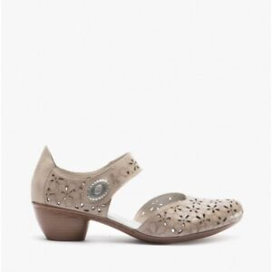 Rieker 43786 Ladies Womens Leather Classy Mary Jane Flower Design Shoes Clay