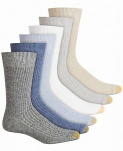 Gold Toe Mens Dress Socks Blue Size 10-12 Stanton Solid Crew 6 Pack $22 #143