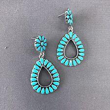 Shape Drop Dangle Post Earrings Turquoise Color Flower Petal Design Teardrop