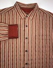 Tommy Bahama Silk Button Down Shirt Men's Large Long Sleeve Red Flip Cuff