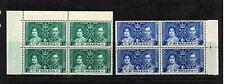 St Helena 1937 1d Green & 3d Blue KGVI Coronation Blocks Of Four- Mint