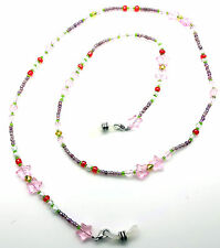 NEW GLASSES NECK CHAIN BEADED NECKLACE SAFETY CORD PINK STAR & GREEN BEADS