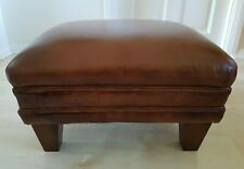 LAURA ASHLEY BURLINGTON BROWN TAN LEATHER FOOTSTOOL
