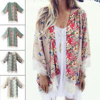 Women Boho Floral Loose Shawl Kimono Cardigan Vintage Chiffon Coat Jacket Blouse