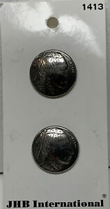 "Vtg JHB International Indian Head Nickel Metal Buttons 3/4"""