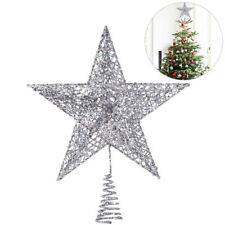 Glitter Silver Christmas Tree Topper Decorations Baubles Stars