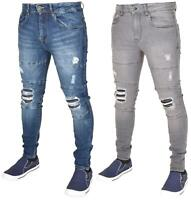 Enzo Mens Ripped Jeans Skinny Slim Fit Denim Pants Casual Trousers Size 28 - 40