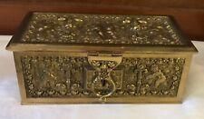 Antique Bronze Jewelry  Casket with Cherub Relief