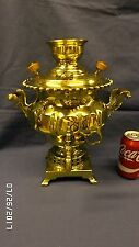 "2441M Antq 14"" Samovar Middle Eastern 7.5 Lbs. SHIMMERING GORGEOUS BRASS SIGNED"