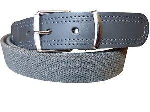 Herren+Damen Stretchgürtel/elastischer Gürtel mit echt Leder Grau kürzbar!