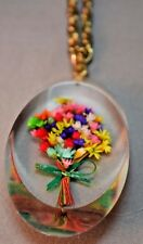 Vintage Oval Clear Celluloid Vibrant Multi Colored Floral Bouquet