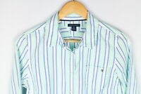 Tommy Hilfiger Women Casual Shirt Green Striped Cotton size M