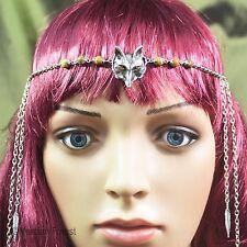 Wolf and Feather Tribal Headdress - Pagan Jewellery, Wicca, Witch, Gemstone