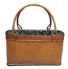 Jenn Handwoven Natural Rattan and Bamboo Bag