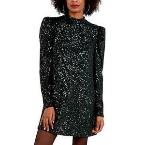 Stella Puff Shoulder Sequin Swing Dress | Dark Green