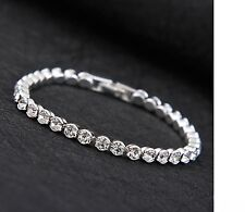 SILVER FILLED Crystal Strass Gioiello Sposa TENNIS BRACCIALE UK
