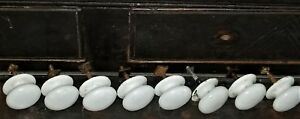"""Part- 8 knobs, pulls for chest, sideboard, white porcelain, early-mid 1800, 1.5"""""""