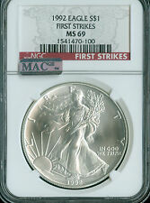 1992 SILVER EAGLE 1-OZ DOLLAR NGC MAC MS-69 PQ FIRST STRIKE FINEST SPOTLESS *