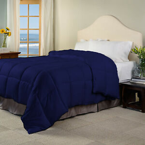 Glorious Down Alternative Comforter 100/200/300 GSM Navy Blue Striped Queen Size
