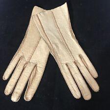 Vintage Pigskin Peccary Gloves Natural Camel Tan Women Sz 6.5 Free Shipping