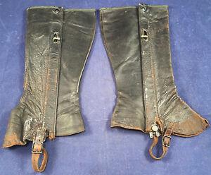 Vintage Edwardian Mens Motoring Motorcycle Black Leather Gaiters Puttee Leggings