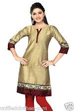Indian Pakistani Silk Embroidery Party Wear Kurti Kurta Tunic 0308 (L-36)