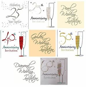 WEDDING ANNIVERSARY Party Invitations & Envelopes - Silver/Gold Foil + Invites