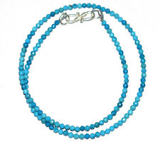 """Sky Blue Turquoise Round 3 mm Beads 925 Sterling Silver 18"""" Strand Necklace KK06"""