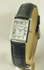 Woodford Ladies 1724 Sterling Silver Watch With Black Leather Strap