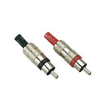2 Fiches RCA Mâle 2 Couleurs Noir et Rouge Capot Métal  Connections à Souder